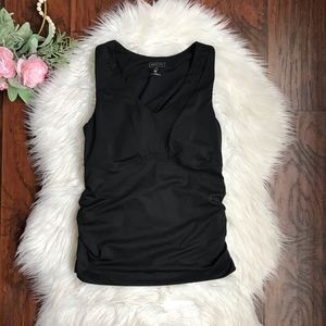 Athleta Black Side Ruched Padded Athletic Top